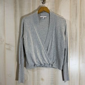 Current Air Gray Cross Front Sweater Small